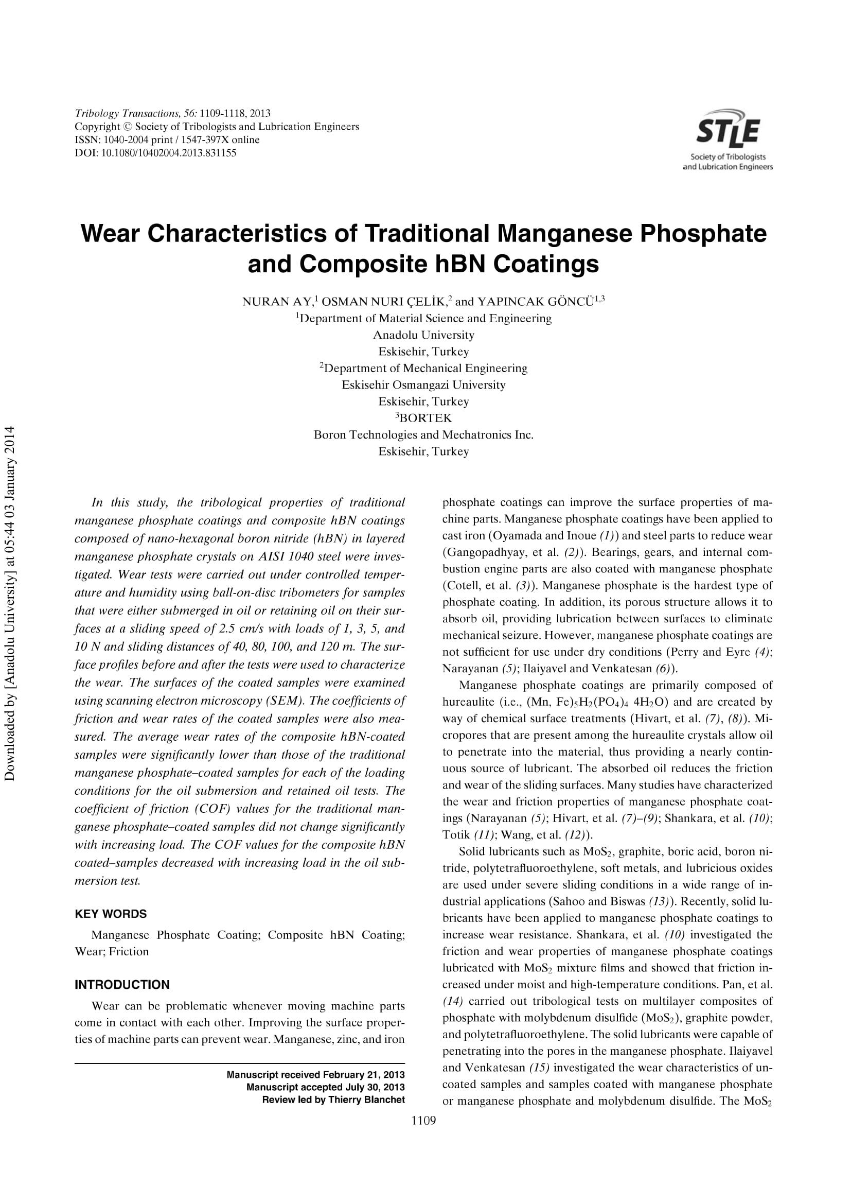 Wear Characteristics of Traditional Manganese